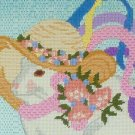 Mrs. Bunny Rabbit Framed Needlepoint, Turquoise , Aqua, Pink, Yellow, Spring, Hat, Flowers