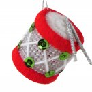 Red, White, and Green Handmade Needlepoint Drum Christmas Tree Ornament