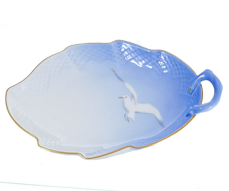 """Bing & Grondahl Seagull Large Leaf Dish, Candy, Serving  9 1/2"""""""