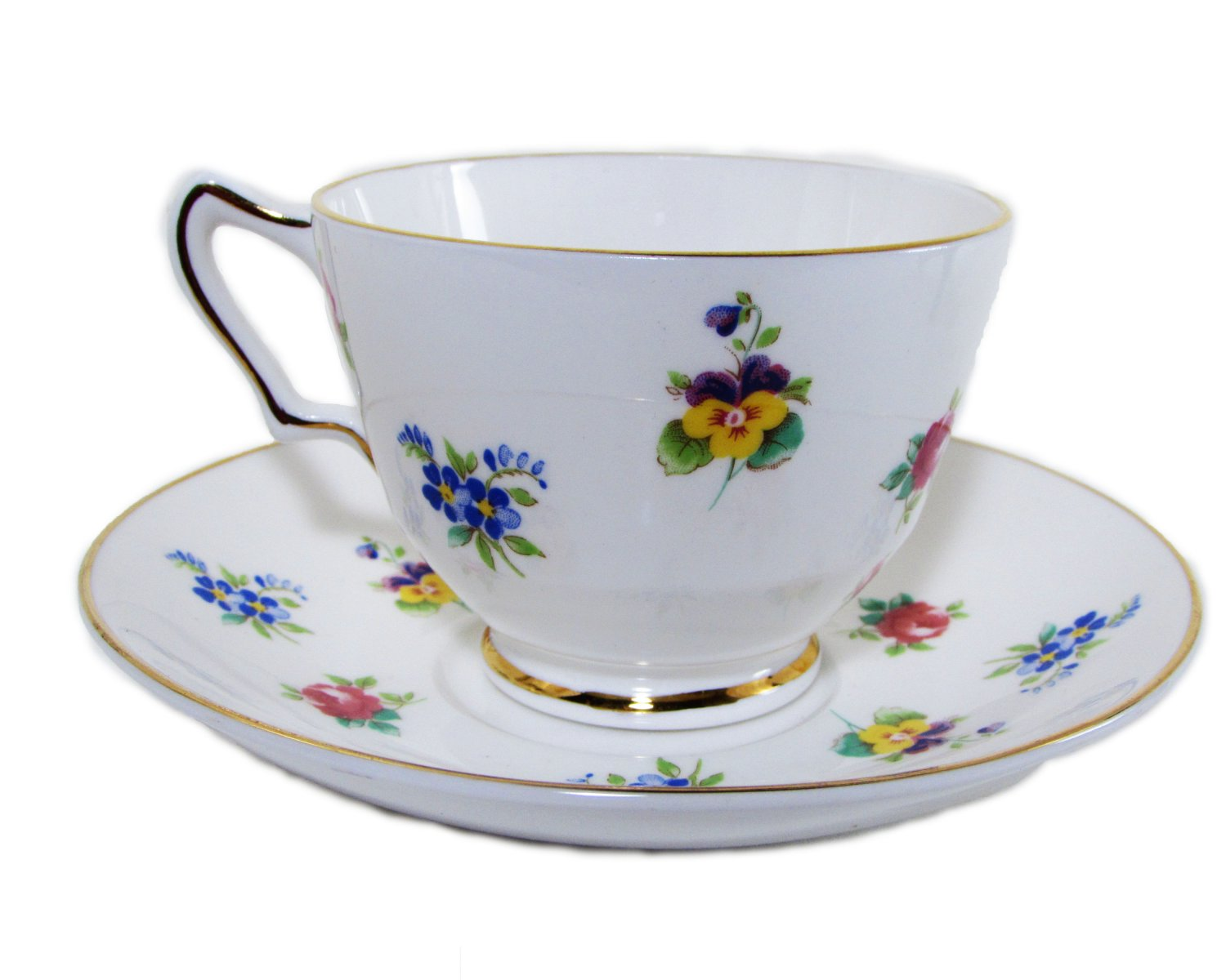 Floral Crown Staffordshire Footed Cup and Saucer Fine Bone China Pansy, Rose, Forget-me-not