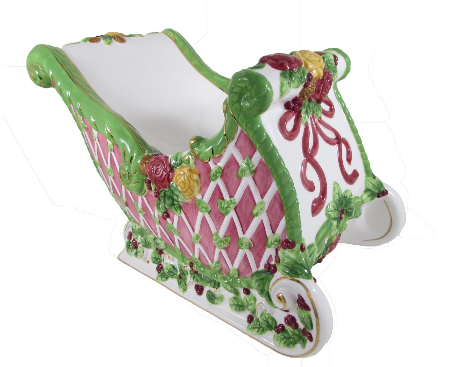 Royal Albert Old Country Roses Season Of Colour Christmas Sleigh Dish Centerpiece Candle Holder