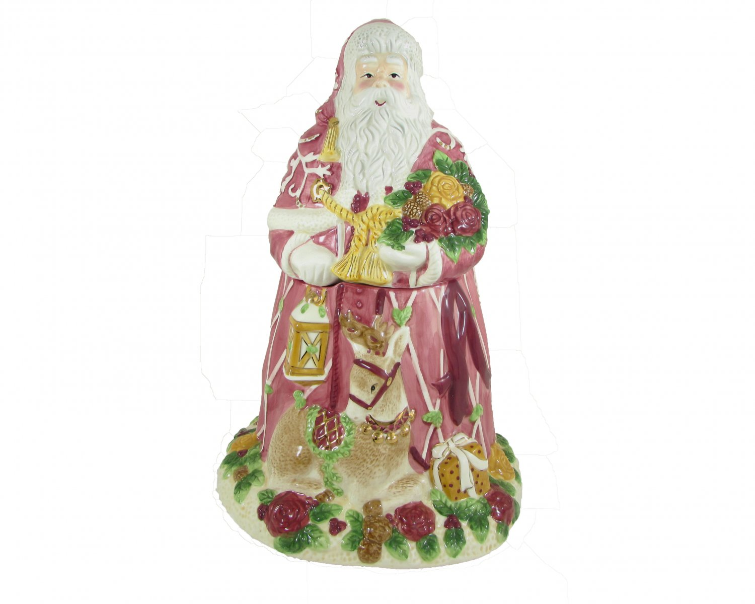 Royal Albert Old Country Roses Season Of Colour Christmas Santa with Reindeer Cookie Jar