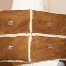 BROWN SHEARLING CHANEL WRISTLET BAG