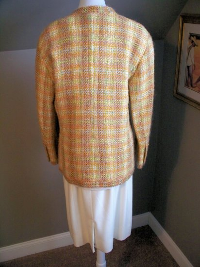 CHANEL MULTI COLORED TWEED WOMANS SUIT, SIZE 42