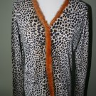 WOMANS MARIA DI RIPABIANCA SHIRT, ORANGE MINK TRIM