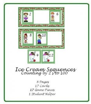 Math Center and Teacher Resources - Ice Cream Sequences (Counting by 2&#039;s up to 100)