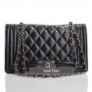 David Eikon Carine Oil-tanned Quilted Leather Bag Black