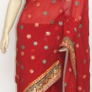 Item#SR1018 Red Jorjet Saree (WAS-$140, NOW-$99)