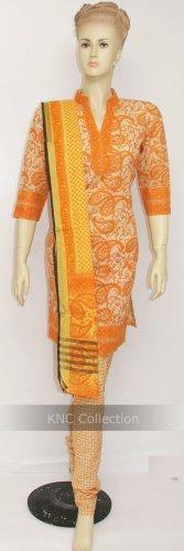 Item#CT1043 Orange cotton salwar kameez
