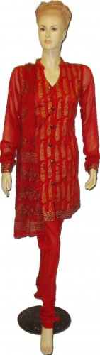 Item#ED1029 Red and Golden block salwar kameez