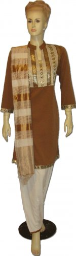 Item#CT1077 Brown and off white silk salwar kameez