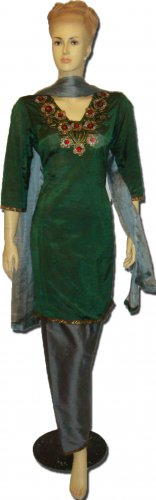 Item#CT1076 Green and gray chosha silk salwar kameez