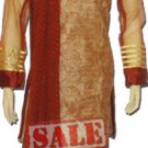 Item#ED1030 Brown and beige color churidar salwar kameez