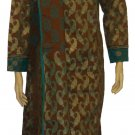 Item#CT10122 Teal/Dark Brown cotton salwar kameez