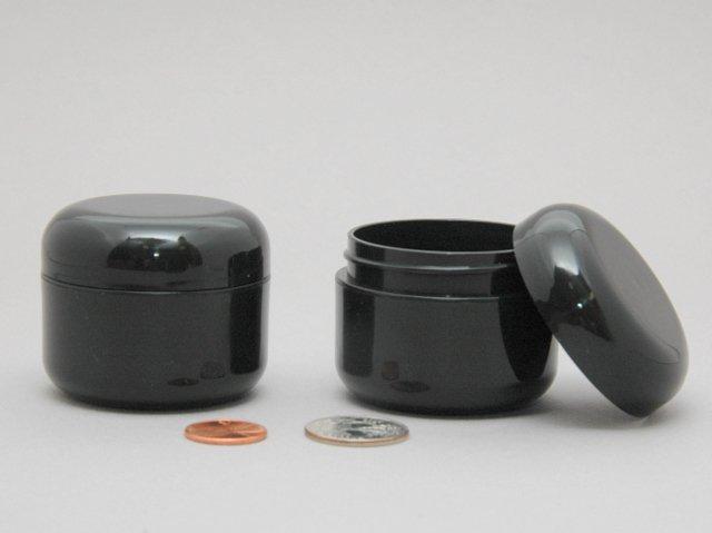 12 Plastic Cosmetic double wall Black Cream Jars 30ml 1oz