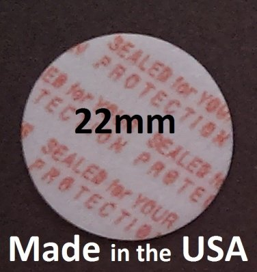 Pack of 100 Press and Seal Cap Liners - 22mm Foam Safety Tamper Seals