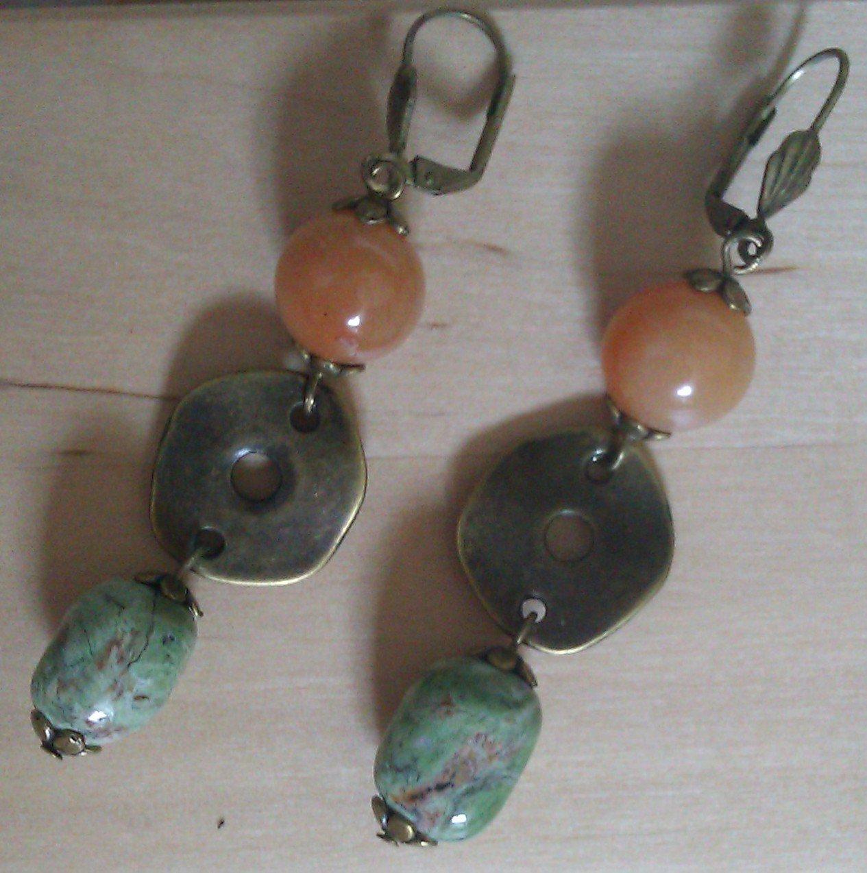 Green Opal Orange Jade Bronze Dangle Earrings ER01 ~ Handmade in the USA