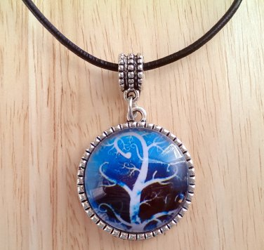 "Tree of Life curly branches round glass pendant leather necklace 20"" N-09 ~ Handmade in the USA"