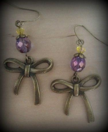Czech Crystal Bronze Bow Dangle Earrings ER04 ~ Handmade in the USA