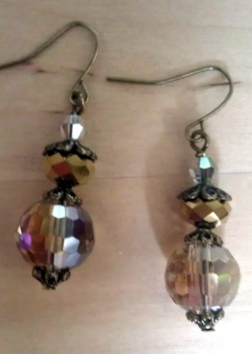 Champagne Austrian Crystal Disco Ball Dangle Earrings ER03C ~ Handmade in the USA