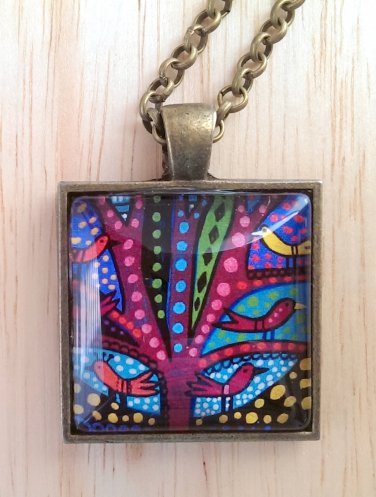 """Abstract Birds in Tree square glass pendant in bronze tray necklace 18""""  N-04 ~ Handmade in the USA"""