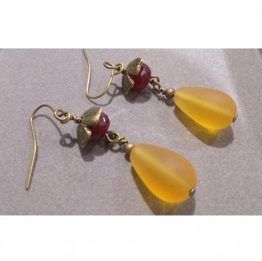 Ruby & Frosted Honey Topaz Seaglass Drop Earrings ER38 ~ Handmade in the USA