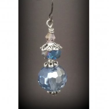 Light Blue Austrian Crystal Disco Ball Dangle Earrings ER03A ~ Handmade in the USA
