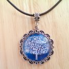 "Tree of Life Fancy round glass pendant black leather necklace 20"" N-07 ~ Handmade in the USA"