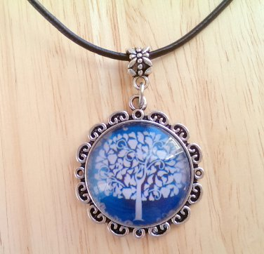 """Tree of Life Fancy round glass pendant black leather necklace 20"""" N-07 ~ Handmade in the USA"""