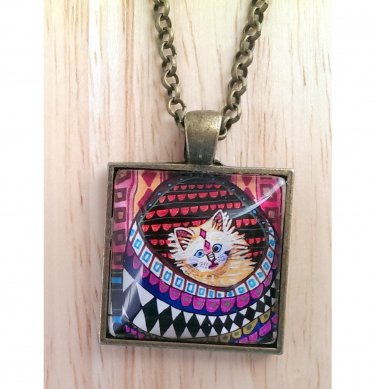 """Abstract Big-Eyed Cat square glass pendant in bronze tray necklace 18""""  N-02 ~ Handmade in the USA"""