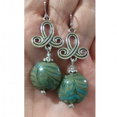 Green Swirl Lampbead Glass Lentil Drop Earrings ER39 ~ Handmade in the USA