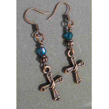Antique Copper Cross & Czech Crystal Drop Earrings ER37 ~ Handmade in the USA