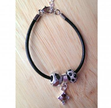 "Elegant Bracelet ~ Rhinestones & Glass Hematite Color 7.25"" +2.5"" ~B1 ~ Handmade in the USA"