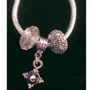 "Classy Evening Bracelet ~ AB Glass & Rhinestones Hematite 8"" +2"" ~XM08 ~ Handmade in the USA"