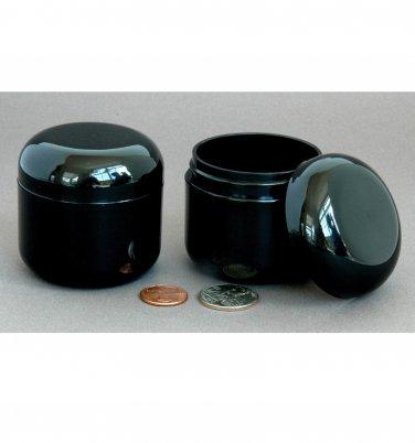 6 Plastic Cosmetic double wall Black Cream Jars 60ml 2oz