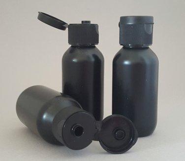 6 Black Travel Size Squeeze Bottles Black Flip-Top 75ml / 2.5oz ~ BPA-free HDPE