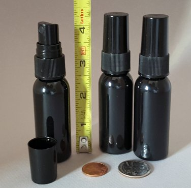 7 All Black BPA-free PET 1oz 30ml Plastic Spray Bottles for Travel or Purse