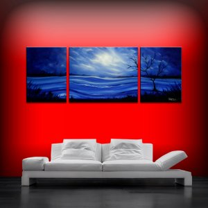 Large landscape art painting blue 24x66 three canvas sectional triptych original acrylic