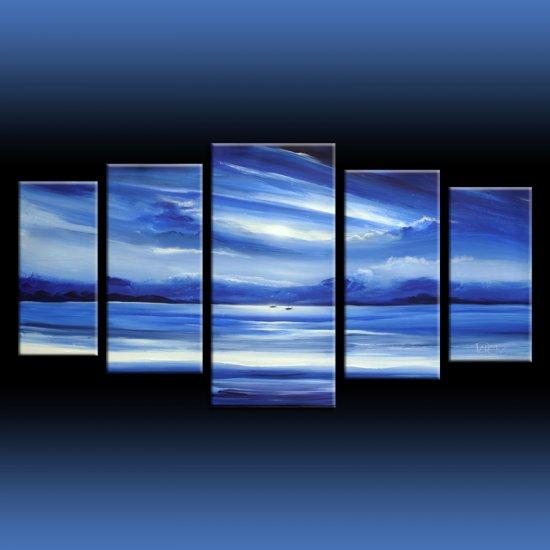 Blue seascape 5 multiple canvas art set by artist Theo Dapore