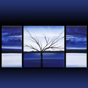 Landscape 312 blue white black canvas art modern art painting
