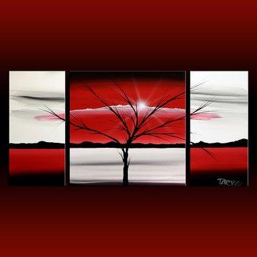 Landscape 313 red white black canvas art modern art painting