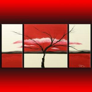 Modern art landscape 322  red, decorative wall art on canvas