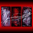 Abstract triptych red black white splatter art
