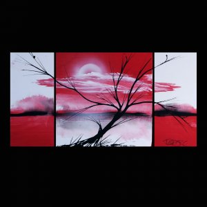 Landscape 364 fine art red three piece painting