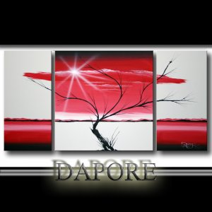 Original modern red landscape painting