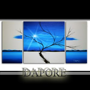 Large blue landscape painting triptych