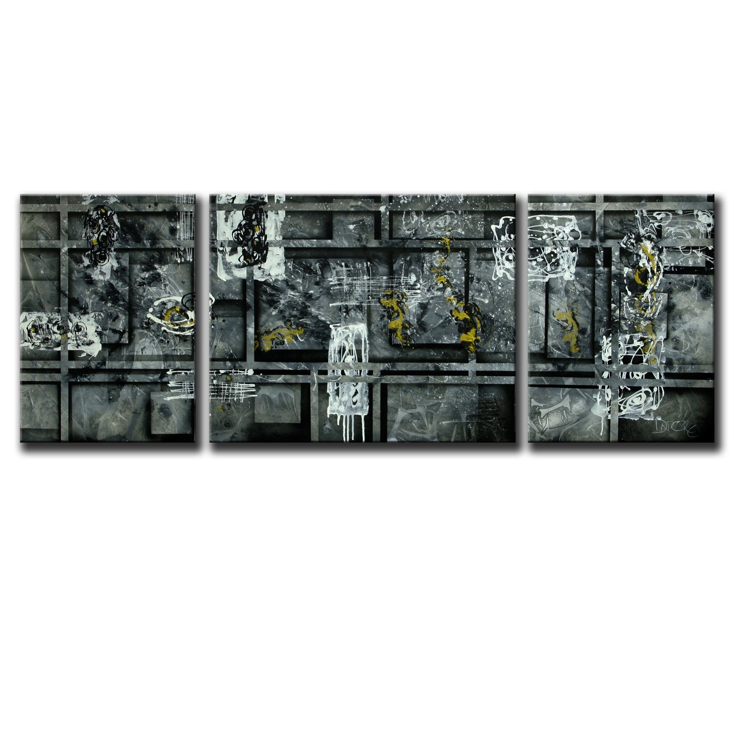 Abstract large painting original black white