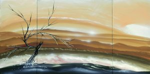 Orginal painting tan peach modern landscape art on three canvases
