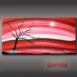 Original modern art painting red pink landscape on canvas