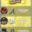 2008 Upper Deck Heroes  #189 Chipper Jones / Ryan Braun / Miguel Cabrera